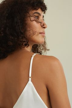 Mulberry silk top by Dariia Day in color Powder White...