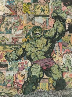 Incredible Hulk Comic Collage 18x24 Giclee Print by ComicReliefOriginals on Etsy, $75.00