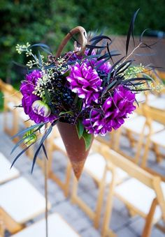 Wedding ● Aisle Decorations ● Cones filled with violet-hued dahlias for magical # Purple Wedding ... Wedding ideas for brides, grooms, parents & planners ... https://itunes.apple.com/us/app/the-gold-wedding-planner/id498112599?ls=1=8 … plus how to organise an entire wedding ♥ The Gold Wedding Planner iPhone App ♥