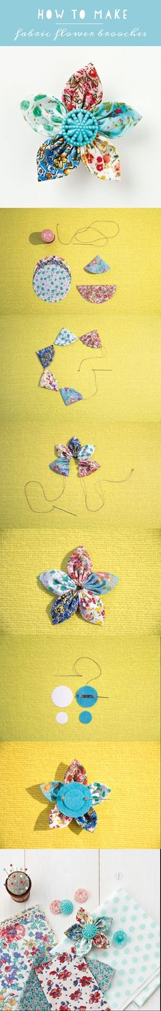 How to make an easy fabric flower brooch | Mollie Makes