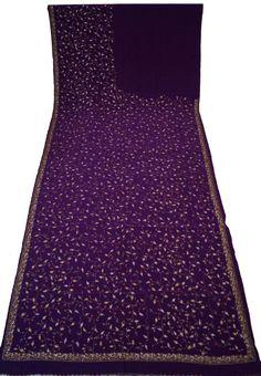Vintage Crepe Saree Sarong With Thread Work Women Wrap Decorative Fabric Recycle Curtain Drape 5YD Saree -ASS806