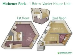 Floorplan with dimensions for one-bedroom units in Vanier House at Michener Park. University Of Alberta, Student Living, 2nd Floor, One Bedroom, Families, Toddler Bed, Projects To Try, Places To Visit, Students