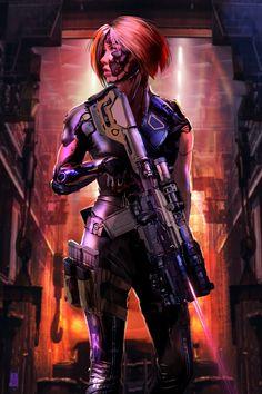 Man From Mars 2049 — Arclight by Shai Daniel via ImaginaryFutureWar Cyberpunk Rpg, Cyberpunk Girl, Cyberpunk Aesthetic, Cyberpunk Character, Cyberpunk Fashion, Space Warriors, Female Cyborg, Futuristic Armour, Steampunk