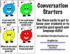 Conversation Starter Cards   - Pinned by @PediaStaff – Please Visit ht.ly/63sNtfor all our pediatric therapy pins