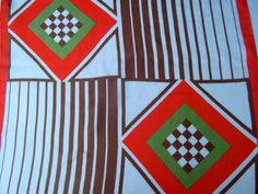 Coral red brown and green geometric print vintage by CHEZELVIRE, $12.00