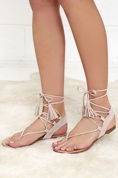 f6d33a85879 Showing off your tanned stems is what the Sun Kiss Nude Suede Lace-Up Flat