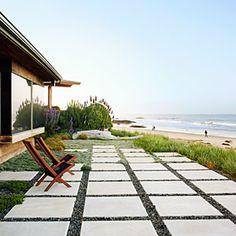 "Beach patio design tips ""Easy-Care-Oase"" low-water lawn replacement terrace area from Sunset magazine, July Contains concre Coastal Farmhouse, Coastal Cottage, Coastal Homes, Coastal Living, Coastal Decor, Coastal Rugs, Coastal Bedding, Modern Coastal, Coastal Furniture"