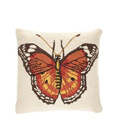 Butterfly wool-front, linen-backed pillow with down fill (18 inches square), $89, vivaterra.com.