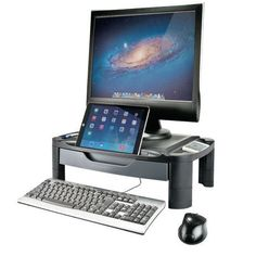 A contemporary monitor stand with height adjustable legs and a slot at the front that can be used to prop up tablets and smartphones. Perfect for busy workplaces and home offices.