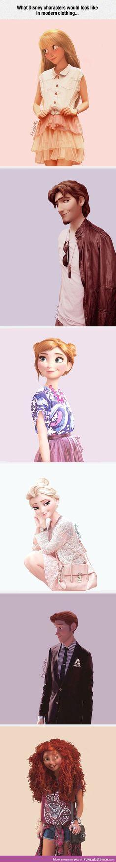 Personnages de Disney dans les vêtements modernes