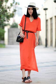 [US$41.40] - Orange Chiffon V Neck Split Cool Maxi Dress : FoxFriday.com