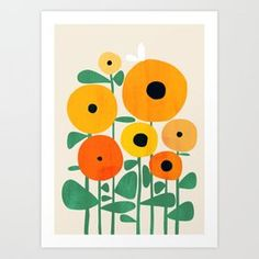 Sunflower And Bee Framed Mini Art Print by Picomodi - White - x Sunflower Illustration, Illustration Art, Framed Art Prints, Canvas Prints, Canvas Art, Bee Art, Geometric Art, Abstract Shapes, Art Projects