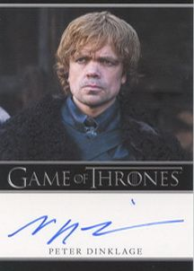 Game of Thrones Season One Trading Cards- Peter Dinklage Autograph Card (Bordered)  http://www.scifihobby.com/products/gameofthrones/season_one/index.cfm