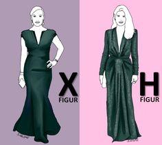 Zwei grüne Abendkleider zeigen deutlich, wie Sie Ihr Traumkleid für Ihren #Figurtyp optimieren können. Mehr Tipps, wie Sie Ihr ideales #Abendkleid finden, gibt es auf www.modefluesterin.de