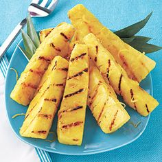 Lemon-Sugar Grilled Pineapple. Three simple ingredients, one light and refreshing dessert.