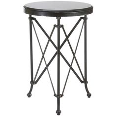 Round Metal Table with Marble Top (€165) ❤ liked on Polyvore featuring home, furniture, tables, accent tables, black accent table, metal occasional tables, black table, black furniture and metal accent table