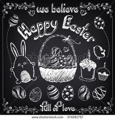 Vintage Happy Easter set with cute rabbit and eggs. Easter cakes. Floral background. Easter basket with eggs. Collection of easter's symbols. Freehand drawing with imitation of chalk sketch