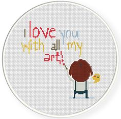 FREE Love All My Art  Cross Stitch Pattern