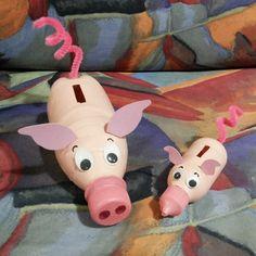 Piggy Bank, Fun Crafts, Pikachu, Granddaughters, Character, Bread Recipes, Education, School, Bottles