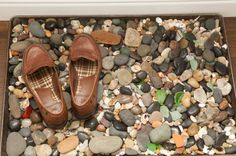 fun idea for door mat at back patio door---using a baking sheet. eclectic  by Whitney Lyons