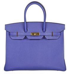 Hermes Birkin Bleu Electrique 35cm Epsom Leather Handbag Ghw New Blue Bag - Satchel.