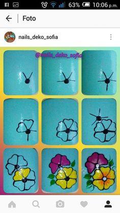 Floral Nail Art, Nail Art Diy, Easy Nail Art, Diy Nails, Manicure, Flower Nail Designs, Simple Nail Art Designs, Fancy Nails, Cute Nails