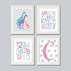 GIRAFFE Wall Art Prints Pink Gray Nursery by LovelyFaceDesigns, $37.00