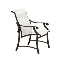 Tropitone Montreux II Low Back Patio Dining Chair Finish: Parchment, Fabric: Sparkling Water