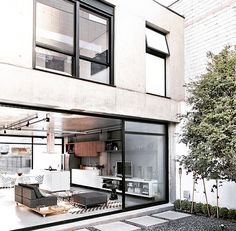 modern home with large windows