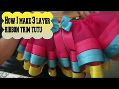 HOW TO: Faster Way to Make the Multicolored Ribbon Trim Tutu by Just Add A Bow - YouTube