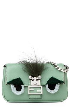 Fendi 'Micro Monster' Leather, Genuine Fox Fur & Genuine Mink Fur Baguette (Extra Small) available at #Nordstrom