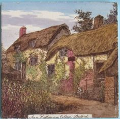 "A terrific transfer printed and beautifully hand-colored tile from a series of historic buildings from designs attributed to L. Swetnam, here is ""Ann Hathaways Cottage, Stratford"". The series was put. Picture Tiles, Antique Tiles, Fireplace Surrounds, Decorative Tile, Color Tile, Hand Coloring, Aesthetic Pictures, Victorian Era, International Society"