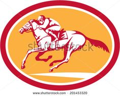Illustration of horse and jockey racing viewed from side set inside circle shape on isolated background done in retro style. - stock vector #jockey #retro #illustration
