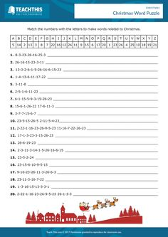 In this enjoyable puzzle worksheet, students race to write down 20 Christmas words by matching numbers to letters.
