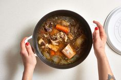 Best Images Cooking Method lesson Thoughts,[ How to make beef bone broth on the stove or in a slow cooker Cooking lessons from The Kitchn met Grilling Recipes, Slow Cooker Recipes, Beef Recipes, Soup Recipes, Cooking Recipes, Healthy Recipes, Cooking Beef, Advocare Recipes, Healthy Dinners