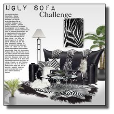 """Ugly Sofa Challenge: Zebra"" by signaturenails-dstanley ❤ liked on Polyvore featuring interior, interiors, interior design, home, home decor, interior decorating and Echo Design"