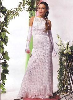Simple crochet wedding dress with diagrams