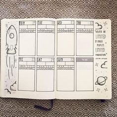 I'm such a sucker for anything space related. But this #weeklyspread from @msjessiink makes it all happen. Lots of room for appointments and tasks. A daily tracker and some doodles to boot! ・・・ Ok seriously! I'm in love with the way this layout came out ❤️❤️ #bujo #bujocommunity #weeklylayout #bujobeauties #bujoweekly #bujoweeklyspread . . . #bulletjournalchallenge #bulletjournaljunkies #bulletjournallove #bulletjournalcommunity #bulletjournal #leuchtturm1917 #journal #