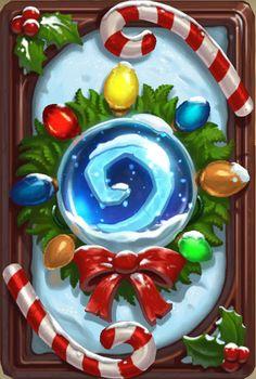 HearthStone Card Back _ Winter Veil Wreath [ Tavern Brawl ] Winter Veil, Xmas Games, Elemental Powers, Board Game Design, Hand Painted Textures, Game Props, Blizzard Hearthstone, Game Concept, Concept Art