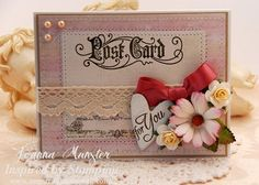 Inspired by Stamping, Joanna Munster, Vintage Postcards stamp set, All Year Wishes I stamp set, IBS Crochet Trim Collection III, IBS flowers, Pinks Ribbon Collection