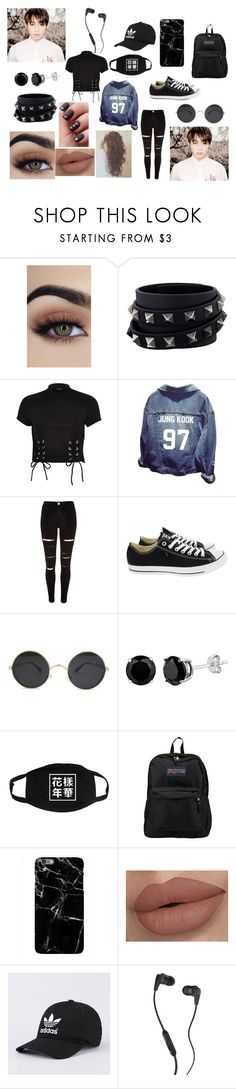 """Walk in Seoul with Jungkook ////// tried something knew is it good????"" by seane0107 ❤ liked on Polyvore featuring Valentino, River Island, Converse, JanSport, Harper & Blake and Skullcandy"