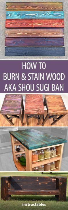Burn & stain wood Aka Shou Sugi Ban #woodworking