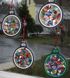 christmas crafts for kids - Christmas ornament window light catchers (contact paper sticky side up - add tissue paper - another sheet of contact paper, and cut out. Ornament Crafts, Christmas Projects, Christmas Themes, Holiday Crafts, Holiday Fun, Christmas Holidays, Christmas Decorations, Christmas Baubles, Toddler Christmas Crafts