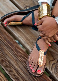 Gilted Band Sandal Accessory.  Made by Uganda high school students who raise money for college.