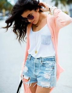 Distressed shorts + white tank + pendant necklace + cardigan For more women's…