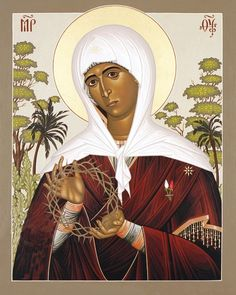 Mother of the Disappeared, a Catholic icon in Byzantine style, with the Virgin showing the crown of thorns like a photograph of the disappeared.// Maica Celor Dispăruţi, icoană catolică în stil bizantin, în care Fecioara arată Coroana de spini a Fiului ca pe o fotografie a celui/celor dispăruţi.