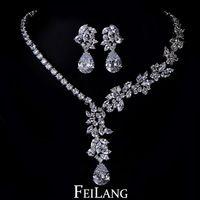 Feilang lujo 18 k oro flor joyería fija para para boda con forma de gota de agua AAA circón cúbico ( FSSP005 )