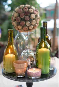 Wine bottles wine theme parties, wine wedding themes, wine themed we. Wein Parties, Deco Champetre, Bottle Centerpieces, Centrepieces, Wine Dinner, Dinner Table, Wine Tasting Party, Wine Cork Crafts, Deco Table
