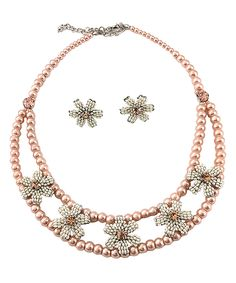 Look what I found on #zulily! Vintage Addiction Pink Love My Flowers Necklace & Earrings by Vintage Addiction #zulilyfinds