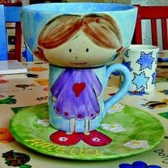 ceramic painting idea using different pottery pieces.  Very cute